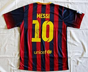 Lionel Messi signed 2013-14 Barcelona soccer football jersey shirt - Autographed Soccer Jerseys
