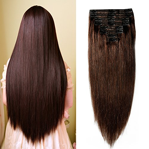 14''-22'' Double Weft Clip in 100% Remy Human Hair Extensions Grade 7A Quality Full Head Thick Long Soft Silky Straight 8pcs 18clips for Women Fashion (20