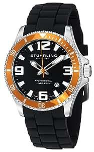 Stuhrling Original Men's 395R.33I61 Aquadiver Regatta Champion Sport Quartz Divers Orange Bezel Watch