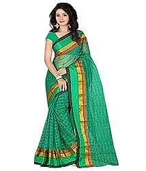 Sanju Splendid Dark Green Color Cotton Saree