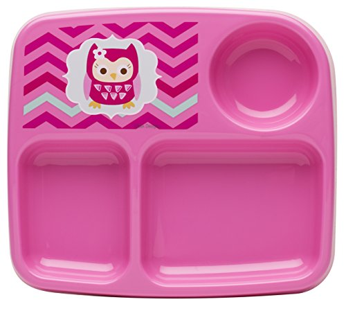 Zak! Designs Toddlerific 3-Section Toddler Plate with Pink Owl, No-tip Wide Base, Break-resistant and BPA-free Plastic - 1