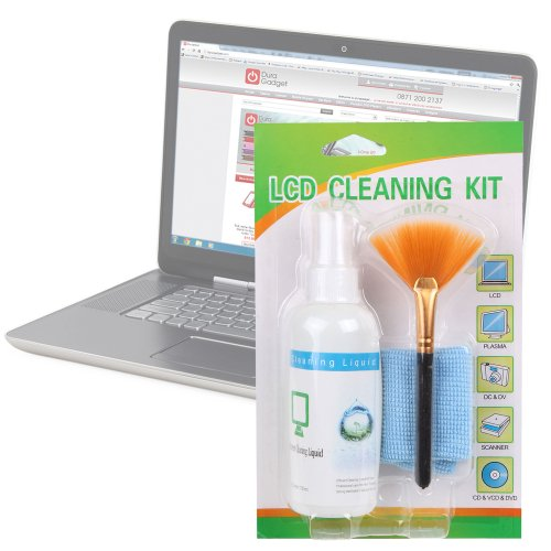 DURAGADGET LCD Laptop Home screen Cleaning Kit With Microfibre Cloth For Acer Aspire Ethos 8943G & SG, Dell XPS 15 & 15Z & HP Desire 14 & 17 3D