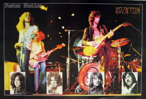 """Led Zeppelin """"Band Playing In Concert & Band'S Faces"""" - Music Poster - Rare New - Image Print Photo"""