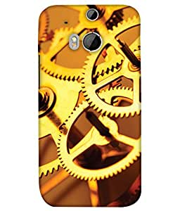 PrintHaat Designer Back Case Cover for HTC One M8 :: HTC M8 :: HTC One M8 Eye :: HTC One M8 Dual Sim :: HTC One M8s (clock wheel design :: clock machine :: in golden)