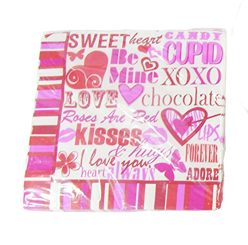 Valentines Conversational Heart Style Napkins - Pack of 18 Pieces