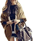 Womens Faux Fur Collar Batwing Sleeve Cardigan Sweater Coat 5354 by NYC Leather Factory Outlet