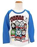 きかんしゃトーマス 長袖 ラグランTシャツ 機関車 トーマス 子供服 (オフ白×ブルー/110cm)