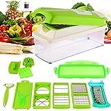 Magikware 12 In 1 Vegetable Cutter - Chopper, Grater, Slicer Dicer, Peeler - All In One (Green)