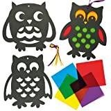 Owl Stained Glass Effect Decorations for Children to Create and Hang (Pack of 6)