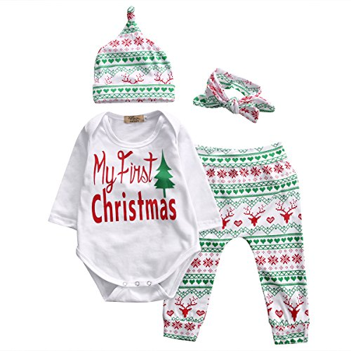 Baby Girl 4pcs Christmas Suit Long Sleeve Romper+Retro Deer Pants+Hat+Headband (6-12months, White)
