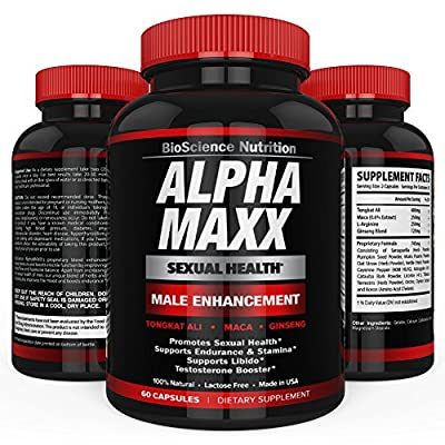 AlphaMAXX Male Sexual Enhancement Supplement | Increase Sex Drive, Enhancing Size, Length, Erection, Performance, Boost Testosterone | Ginseng Muira Puama Tribulus Herbal Pill | BioScience Nutrition