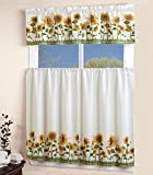 Mk Collection Kitchen Curtain Set Beige Yellow Green Sun Flower New