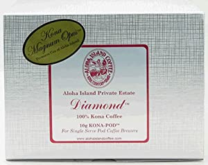 "Aloha Island Exclusive, DIAMOND 100% Pure Kona Coffee, ""Kona-Pods"", 18 Coffee Pods"