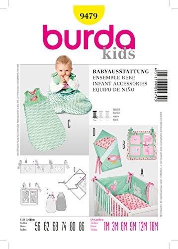 Burda-Schnittmuster-9479-Babyausstattung-Nestchen-Utensilo-Schlafsack-und-Wickeltuch-Gr-56-86