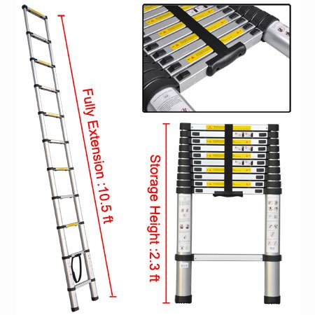 Heavy Duty 10½ Ft Extension Aluminum Telescopic Ladder 330-lb Wt. Capacity 10 Steps Sturdy Construction Lightweight Portable for Home Loft Office Contractor Builder
