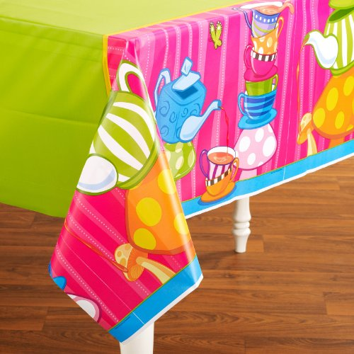 Topsy Turvy Tea Party Plastic Tablecover