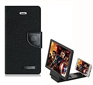 Aart Fancy Wallet Dairy Jeans Flip Case Cover for MotorolaMotoE2 (Black) + 3D SCREEN MAGNIFIER - HD VIDEO AMPLIFIER - with Stylish foldable holder stand by Aart Store.