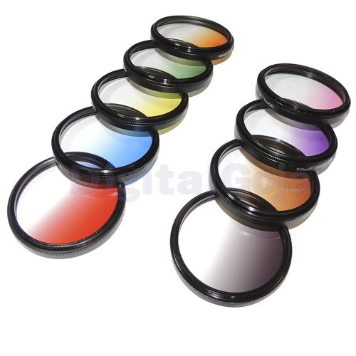 Bluefinger 37Mm Complete Graduated Color Lens Filter Set For Olympus Compact Pen E-Pl3, E-Pl5 Cameras, 37Mm Gopro Hero3 Hero3+ Adapters And Sony Handycam, Canon Vixia Camcorders - Includes: Red, Pink, Purple, Yellow, Orange, Coffee, Green, Blue And Gray N