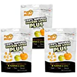 Pet 'n Shape Freeze Dried Chicken Liver PLUS Treats for Dogs, Pumpkin and Apple, 100 Percent Natural, 3 Pack of 2-Ounce Bags