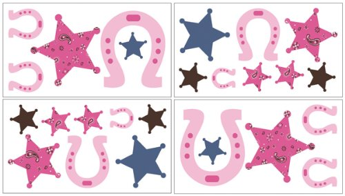 Cowgirl Wall Decal Stickers by Sweet Jojo Designs - Set of 4 Sheets (Pink Cowgirl Sticker Sheets)