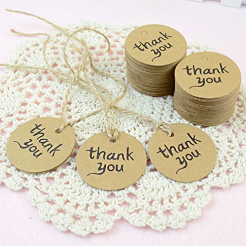200PCS Thank You Wedding Brown Kraft Paper Tag Bonbonniere Favor Gift Tags With Jute Twines