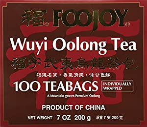 Foojoy Wuyi Mtn. Oolong (Wu Long) Weight Loss Tea 100 Tea Bags,NET WEIGHT 7 OZ. from foojoy