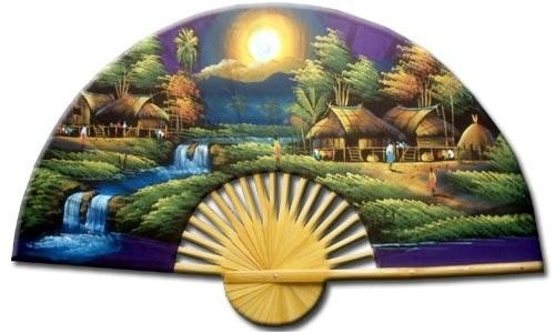 "Asian Art, Décor, & Gifts - 60"" Hand painted Thai Silk & Bamboo Decorative Wall Fan - Purple Moon"