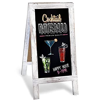 Chalkboard A-Frame with Rustic Vintage Gray Wash Frame Sandwich Board