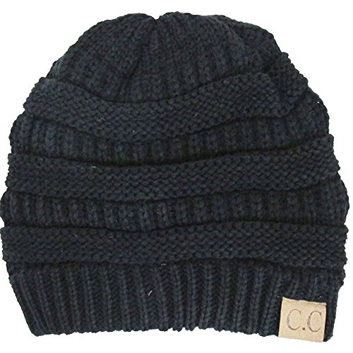 Luxury Divas Charcoal Thick Slouchy Knit Oversized Beanie Cap Hat,One Size,Black