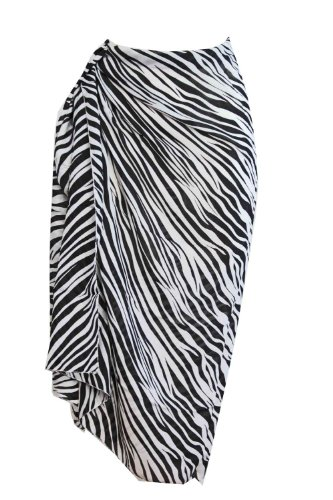 Tamari Zebra Print Sarong Beach Wrap Cover Up Black and White One Size