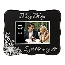 Prinz She Said Yes Bling Glass Frame, 4 by 6-Inch, Black by PRINZ