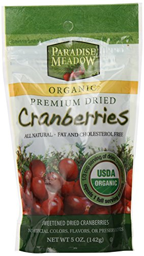 Paradise Meadow Organic Premium Dried Cranberries, 5-Ounce (Dried Organic Fruit compare prices)