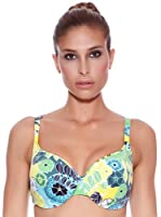 Carey Sujetador de Bikini Tropical Copa D (Verde / Amarillo / Azul)