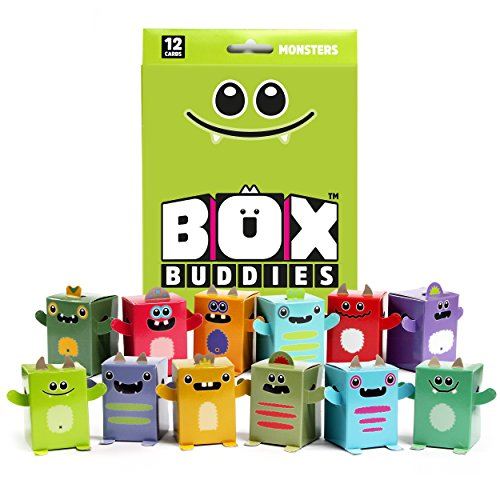 Box Buddies Monsters - Pack of 12 Mini Monster Gift Boxes - Great Halloween Party Bag Fillers