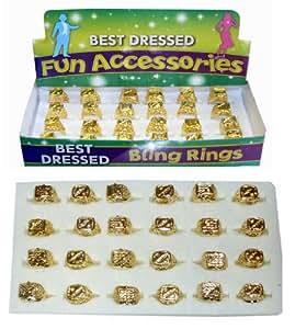 6 GOLD RING GANGSTER FANCY DRESS ACCESSORY PIMP 70'S COSTUME JEWELLERY MR T B A