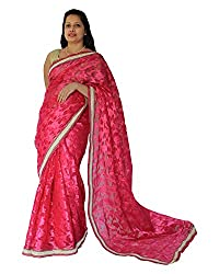 CDS Women's Faux Georgette Saree - (Pink)