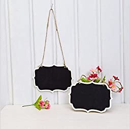 Saitec ® Double Sided Mini Chalkboard for Wedding, Gift Tags, Party Favors, Storage Labelling Tags,Double Sides Shield Hanging Mini Chalkboard Blackboard Mark String ,Mini Chalk Tags,Wine Charms,Gift Tags, Wedding Christmas (set of 10) - Rectangle