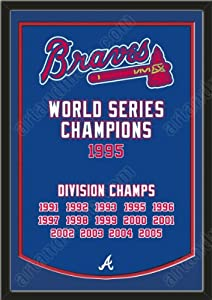 Dynasty Banner Of Atlanta Braves With Team Color Double Matting-Framed Awesome &... by Art and More, Davenport, IA