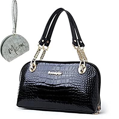 Micom Faux Crocodile Patent Leather Chain Strap Tote Shoulder Bags Handbag for Women,girls with Micom Zip Pouch