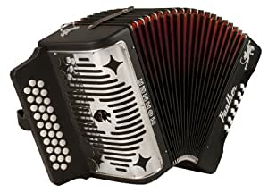 Hohner Panther G/C/F 3-Row Diatonic Accordion Black