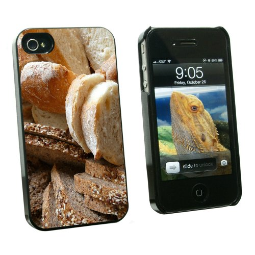Bread - Loaf Rye Italian French - Snap On Hard Protective Case for Apple iPhone 4 4S - Black