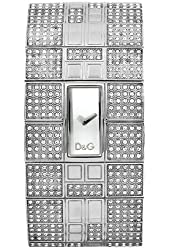 D&G Dolce & Gabbana Women's DW0113 Queen Mary Crystallized Stainless Steel Silver Dial Watch
