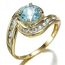 buy Suohuan Women'S Jewelry Princess Cut Simulated Aqua Blue Diamond Ring Wedding Anniversary Gift Size 6