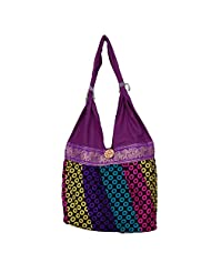 Womaniya Canvas Purple Handbag For Women(Size-32 Cm X 32 Cm X 10 Cm) - B00SJ1K96W