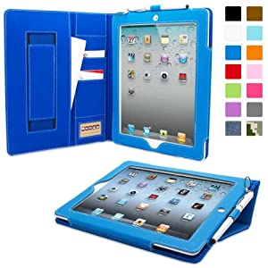 Snugg™ iPad 2 Case - Executive Smart Cover With Card Slots & Lifetime Guarantee (Electric Blue Leather) for Apple iPad 2