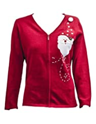 Fabulous crimson Christmas Cardigan embellished