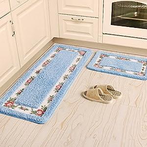 ustide 3 bathroom mat set blue flower