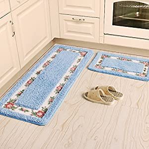 Ustide 3 Piece Bathroom Mat Set Blue Flower Rug Water Absorption Kitchen Rug Soft