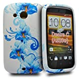 Accessory Master Case for HTC Desire C Silicone Fancy Flowers Design Blue