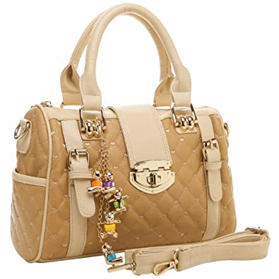 MG Collection KARASI Dual-tone Beige Quilted Turn-lock Bowling Style Handbag